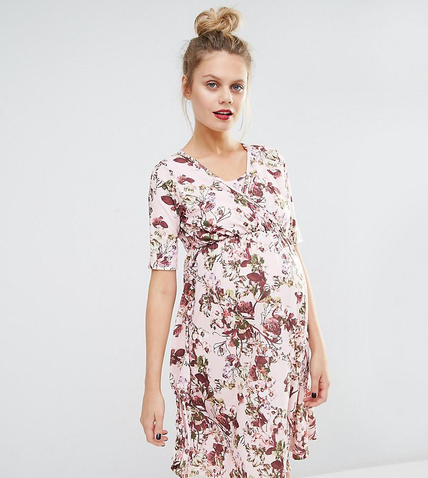 f778690363a8a Lyst - Bluebelle Maternity Nursing Floral Printed Wrap Dress in Pink
