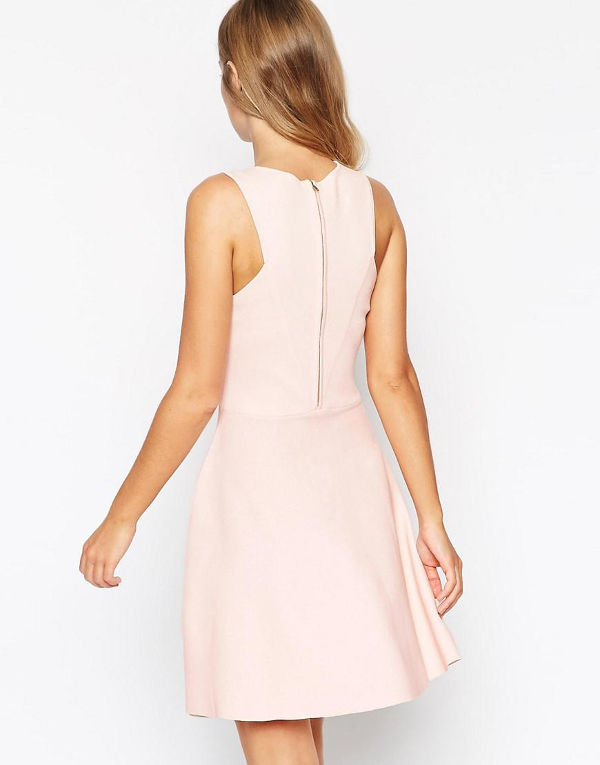 Skater Dress In Structured Knit With Cut Outs - Pink Asos ce0RF5