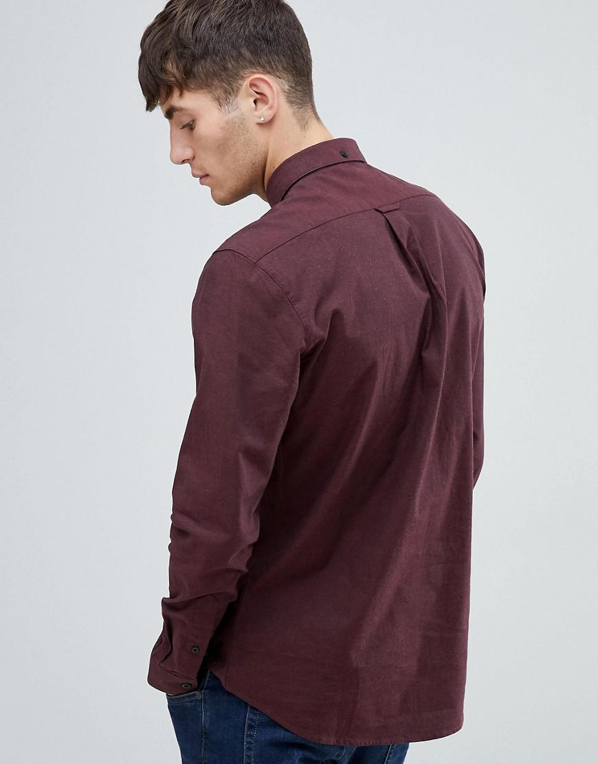 6df761dd8e4 Farah Steen Slim Fit Textured Shirt In Burgundy in Red for Men - Lyst