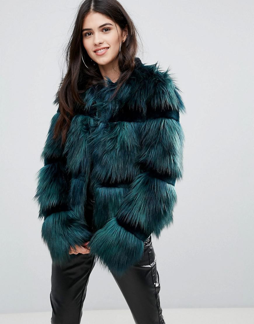 dc73f0c3c367 Urbancode Crop Coat In Faux Fur in Green - Lyst