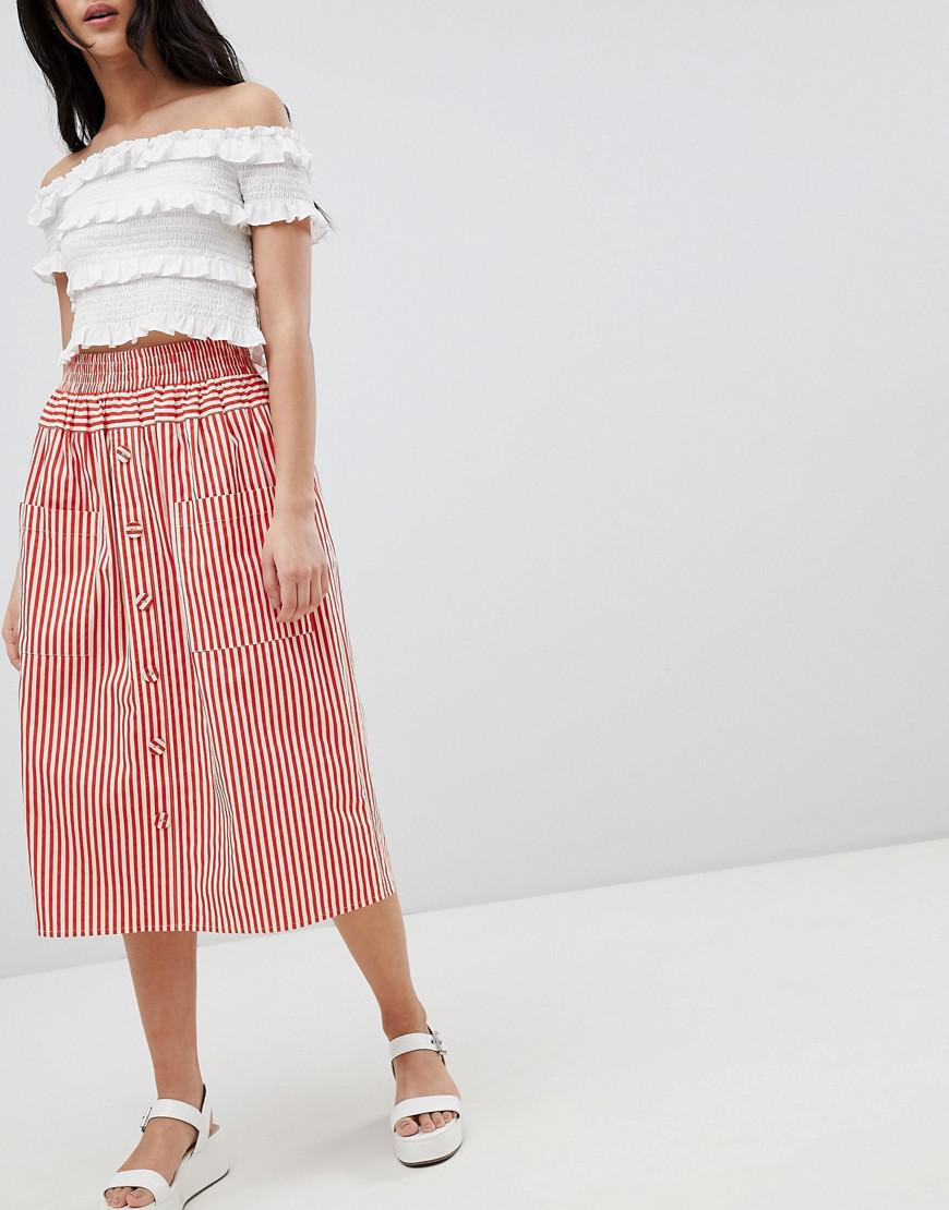ASOS DESIGN cotton midi skirt with button front in stripe Footlocker Online From China Sale Online Wholesale Price Sale Online Big Discount Best Wholesale Online SSE1Kn