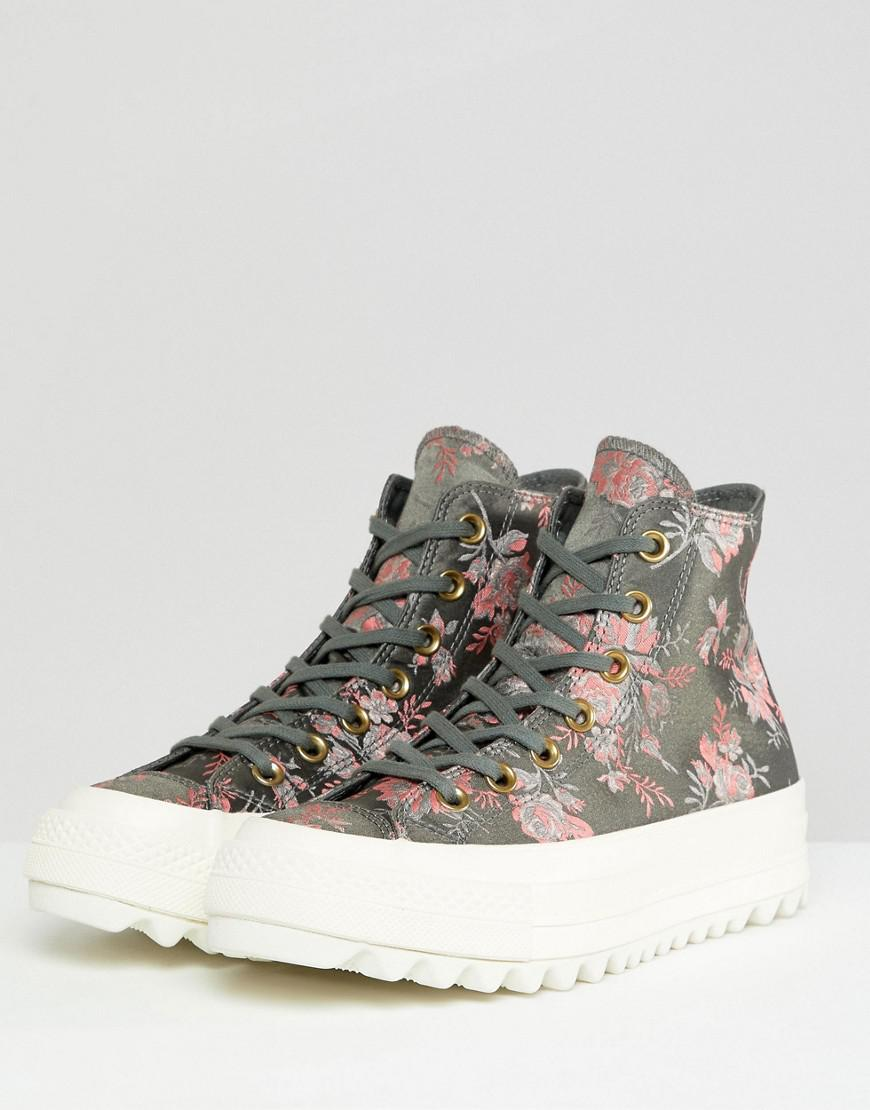 2bc280b94c6 Lyst - Converse Chuck Taylor All Star Hi Lift Ripple Trainers In Floral