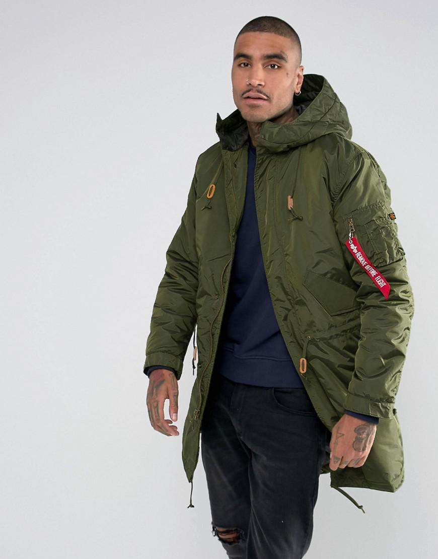 Alpha Industries Synthetic Hooded Fishtail Parka In Dark