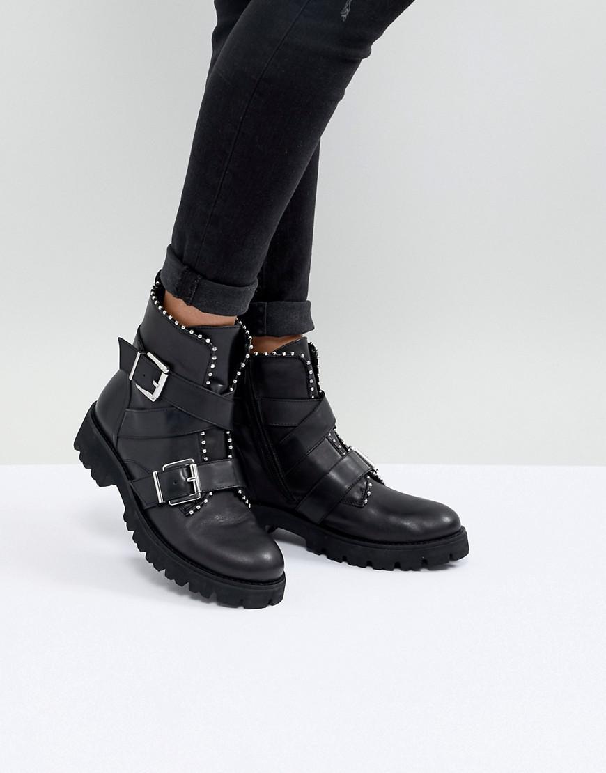 8dd0ea415f87 Steve Madden Hoofy Stud Detail Buckle Boot in Black - Lyst