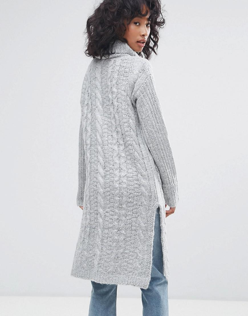 142890819a8d Oeuvre Cable Knit Roll Neck Jumper Dress in Gray - Lyst