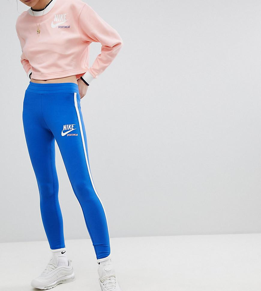 9c07e1c9d8cba1 Nike - Archive Logo Leggings In Blue With Piping - Lyst. View fullscreen