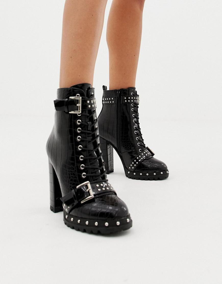 fecc96881bc6 PrettyLittleThing Lace Up Heeled Croc Boots In Black in Black - Lyst