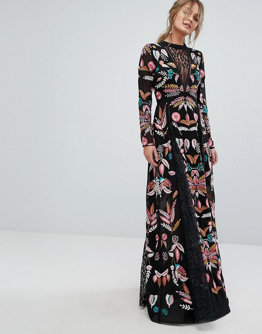 Frock and Frill Embroidered Maxi Dress With Lace Inserts in Black - Lyst ef1563a69
