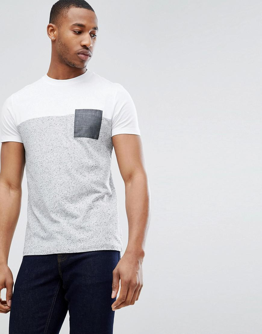 DESIGN t-shirt in grey interest fabric with contrast panel and piping - Grey Asos