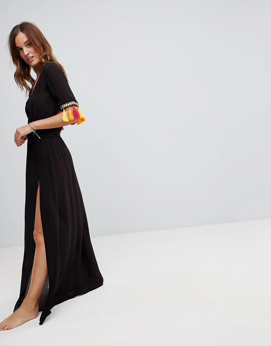 6df8c78477 Akasa Tassel Trim Maxi Beach Dress in Black - Lyst