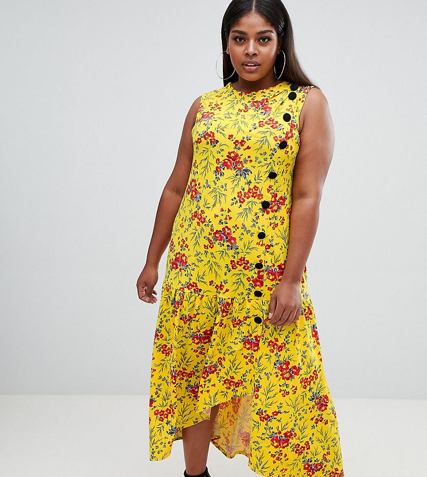 06c78fb814d ASOS. Women s Yellow Asos Design Curve Maxi Tea Dress With Dropped Hem And  Contrast Buttons In Floral Print