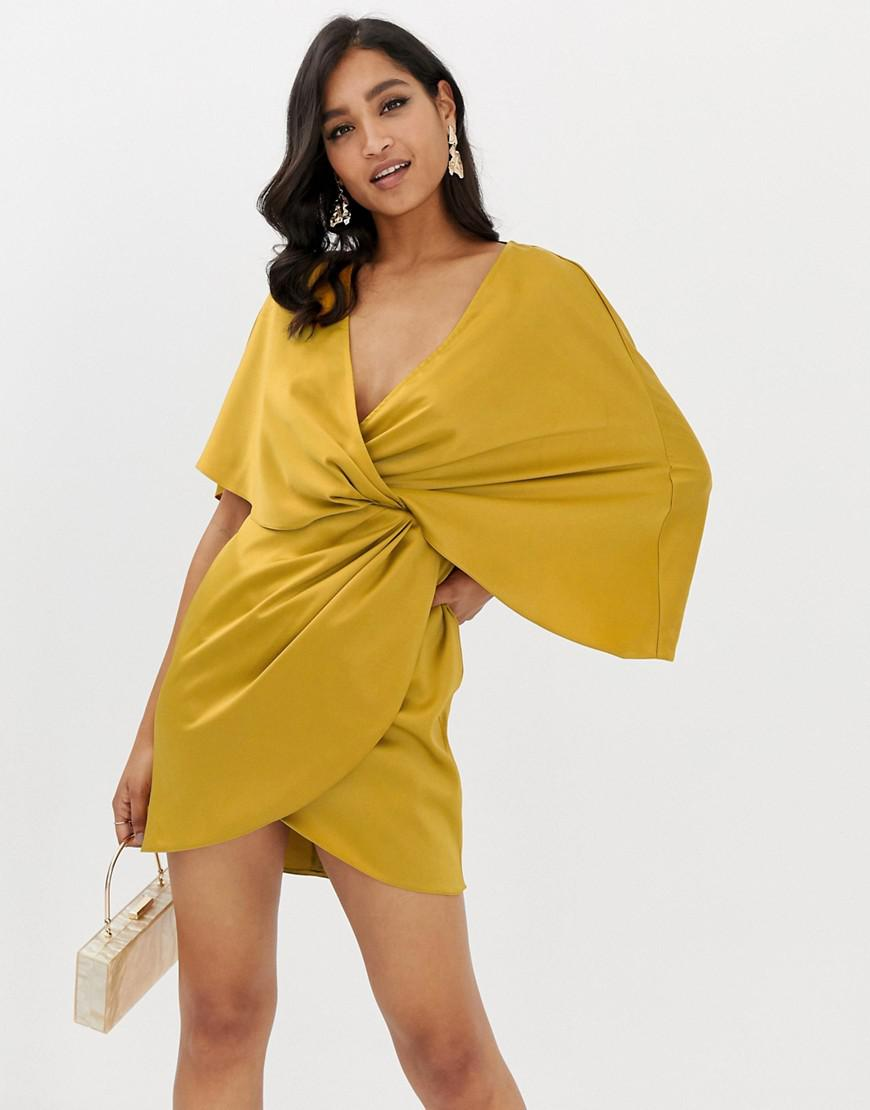 f41e3f5d5a ASOS - Metallic Mini Dress In Satin With Asymmetric Kimono Sleeve - Lyst.  View fullscreen