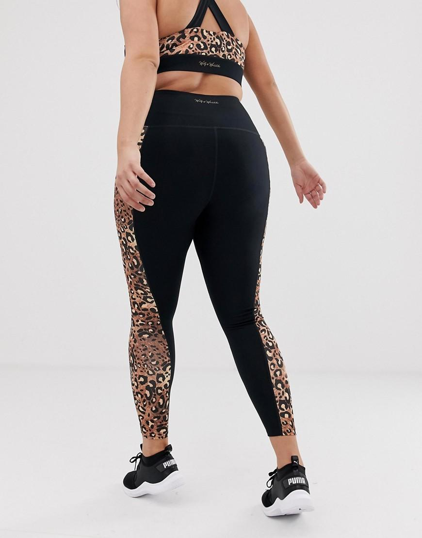 09400387a682 Lyst - Wolf & Whistle Plus Exclusive To Asos Leopard Print Leggings in Black
