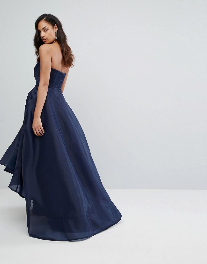 ae148336742 Lyst - Robe longue avec buste façon origami Bariano en coloris Bleu