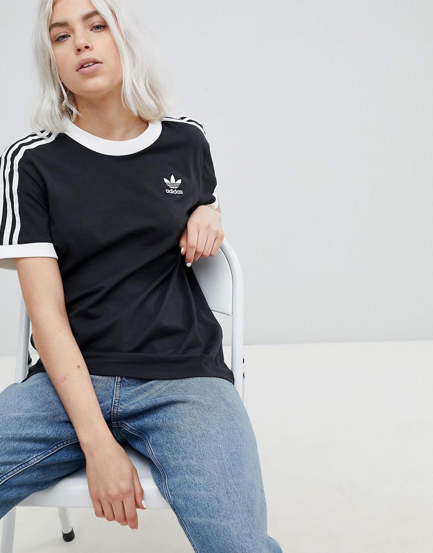 1bb447cf9fde adidas Originals Originals Adicolor Three Stripe T-shirt In Black in ...