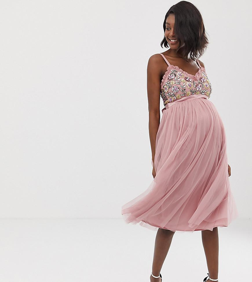 f548602e6abfa Maya Maternity. Women's Pink Cami Strap Contrast Embellished Top Tulle Detail  Midi Dress In ...