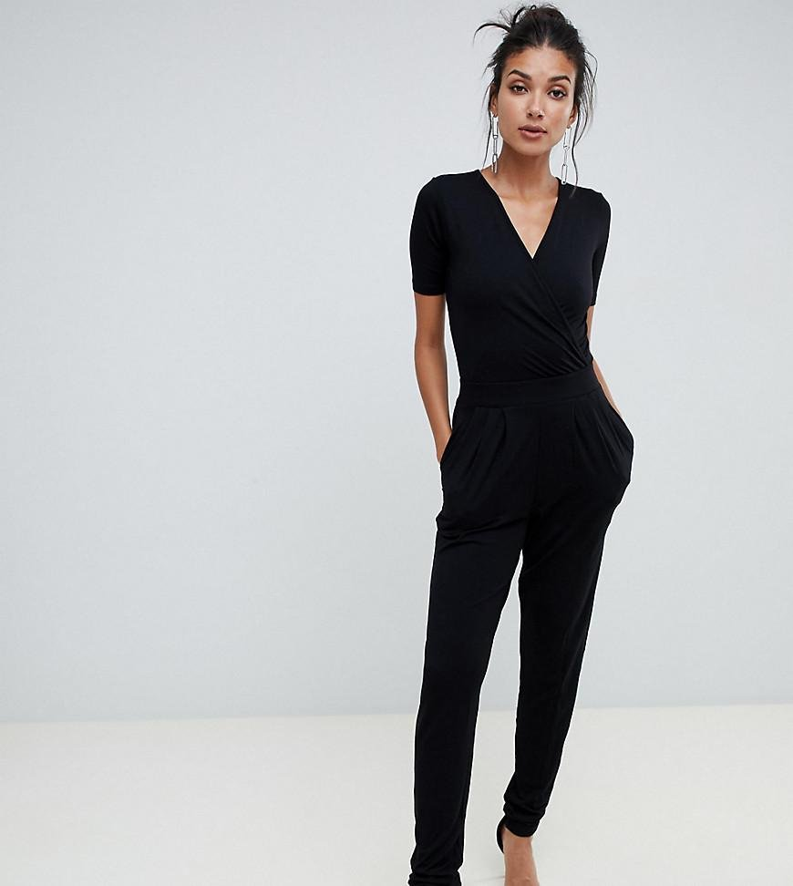88a65ff84b62 ASOS Asos Design Tall Wrap Front Jersey Jumpsuit With Short Sleeve ...