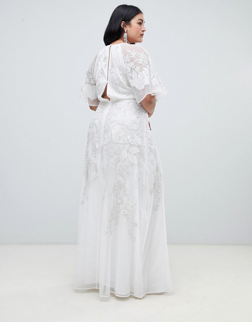 611a082b5232 ASOS Asos Edition Curve Floral Applique Wedding Dress in White - Lyst