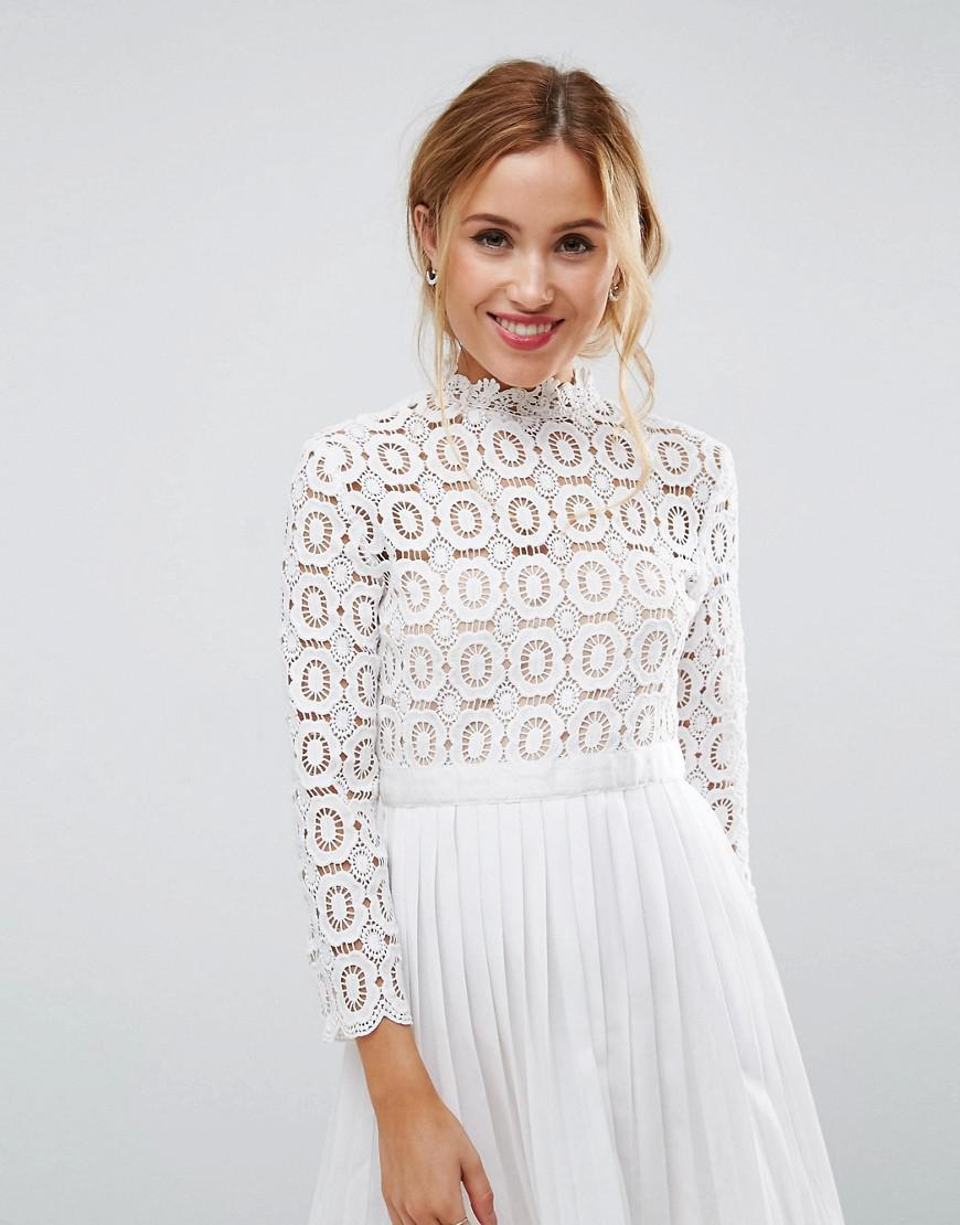 Lyst - Little Mistress 3 4 Sleeve Lace Top Pleated Mini Dress in White e98211b75