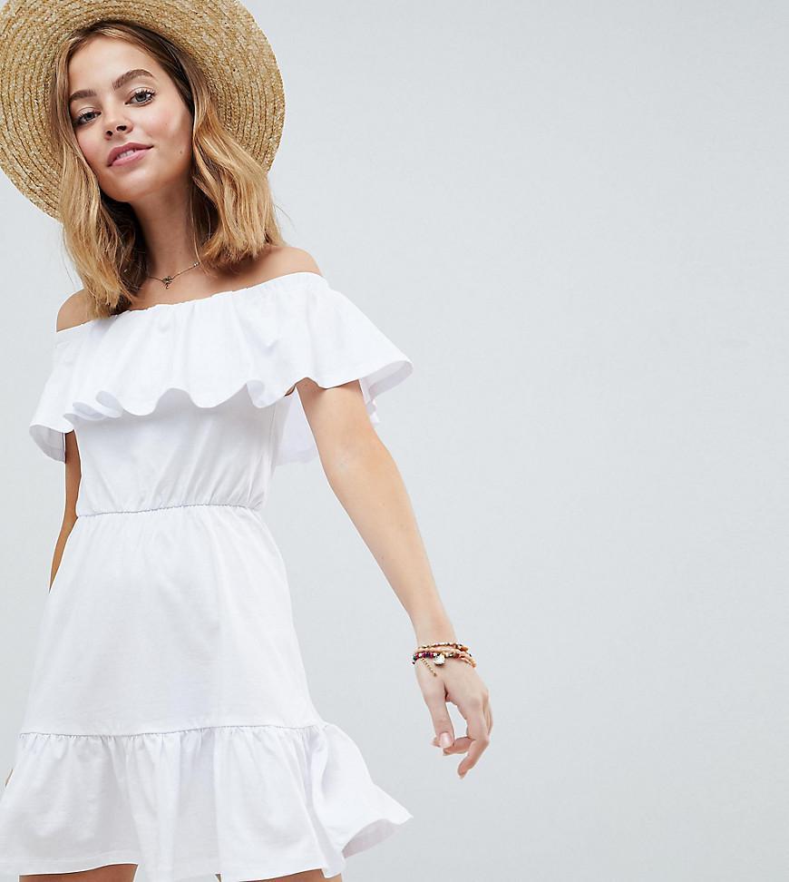 4fb87e1613ba ASOS Asos Design Petite Off Shoulder Sundress With Tiered Skirt in ...