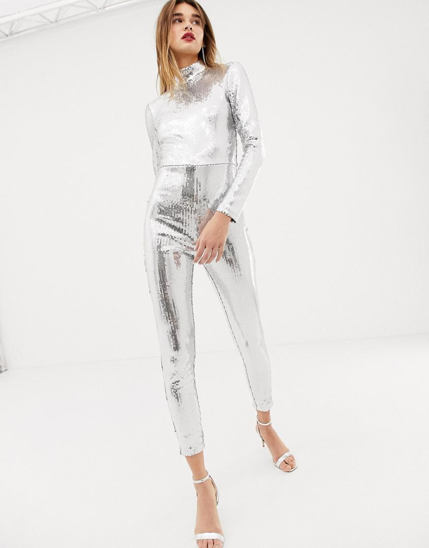 Warehouse X Ashish Sequin Catsuit In Silver in Metallic - Lyst 1eb9a5d114f5b