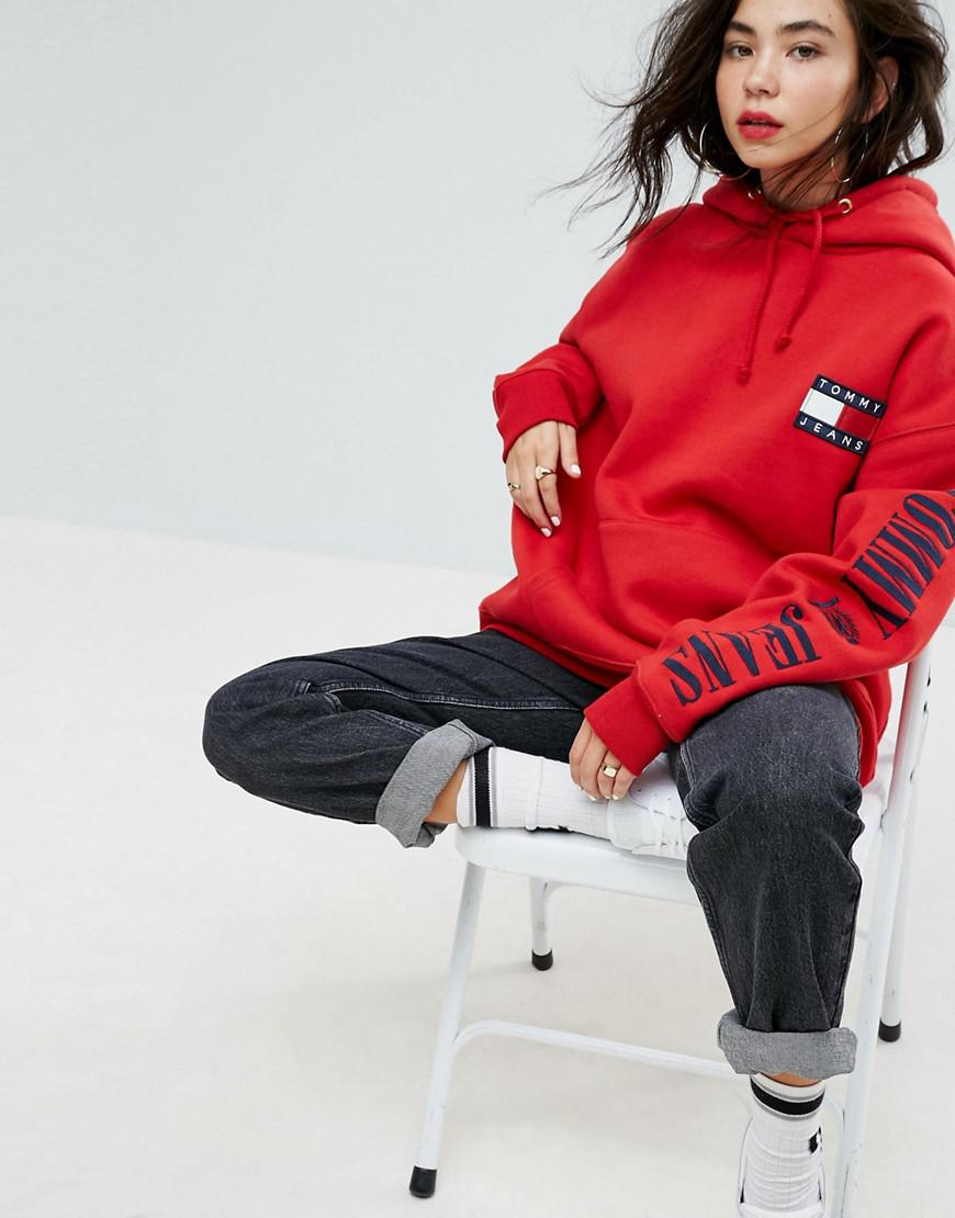 bca1e0d702ef2a Lyst - Tommy Hilfiger Tommy Jeans 90s Capsule Logo Hoodie in Red