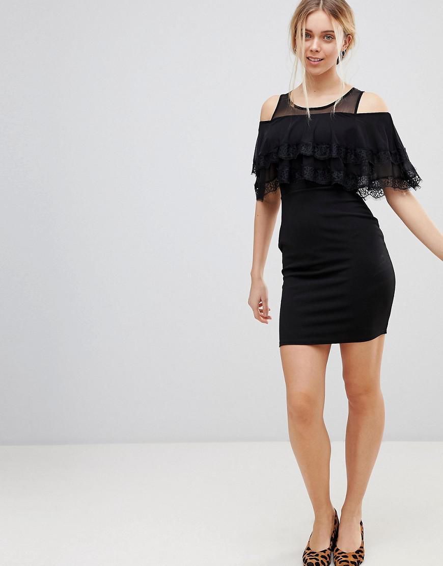 Cold Shoulder Midi Dress With Tipped Frill - Black Girls On Film With Credit Card Cheap Price How Much Clearance Online KEYD0