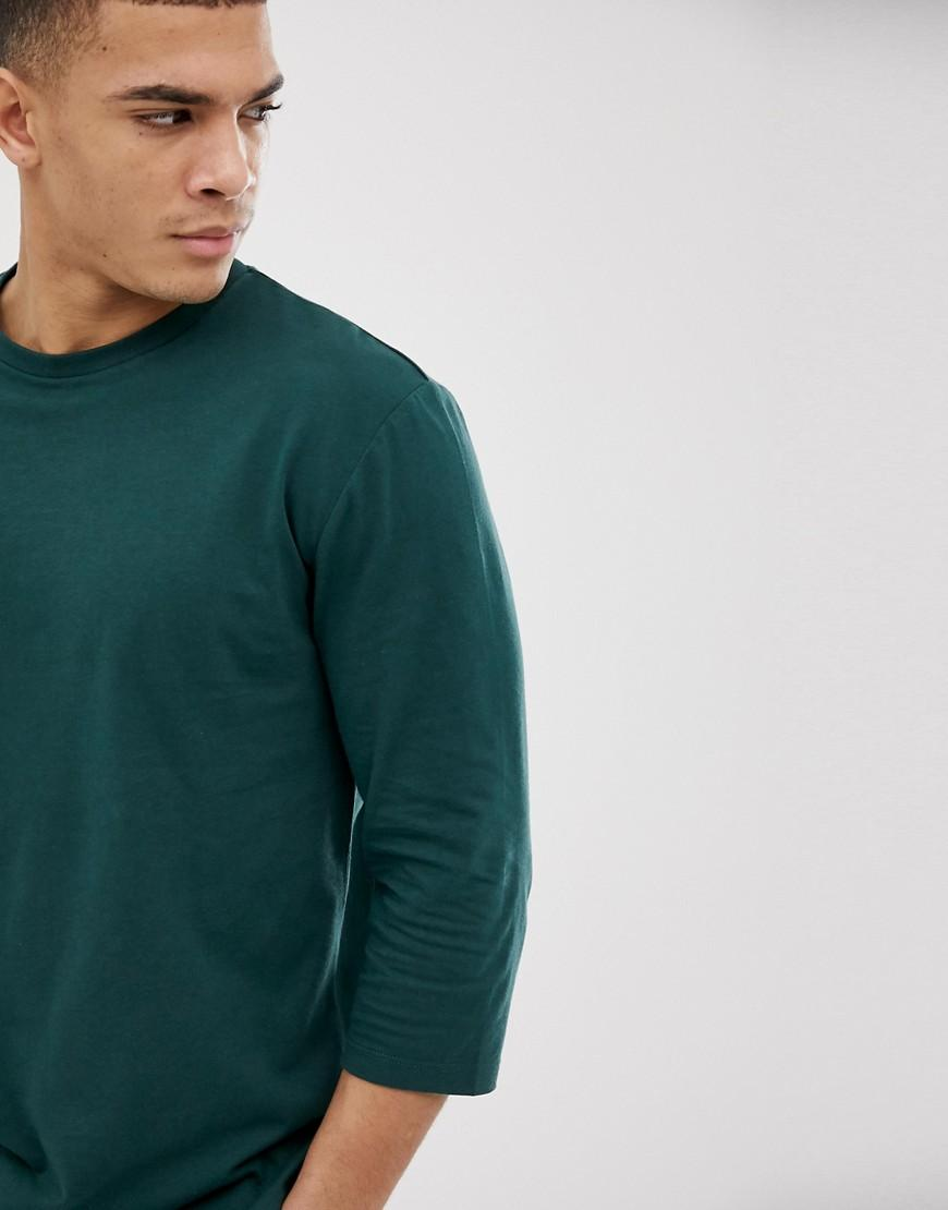 acb3cacd5 Lyst - ASOS Relaxed 3/4 Sleeve T-shirt With Crew Neck In Green in ...