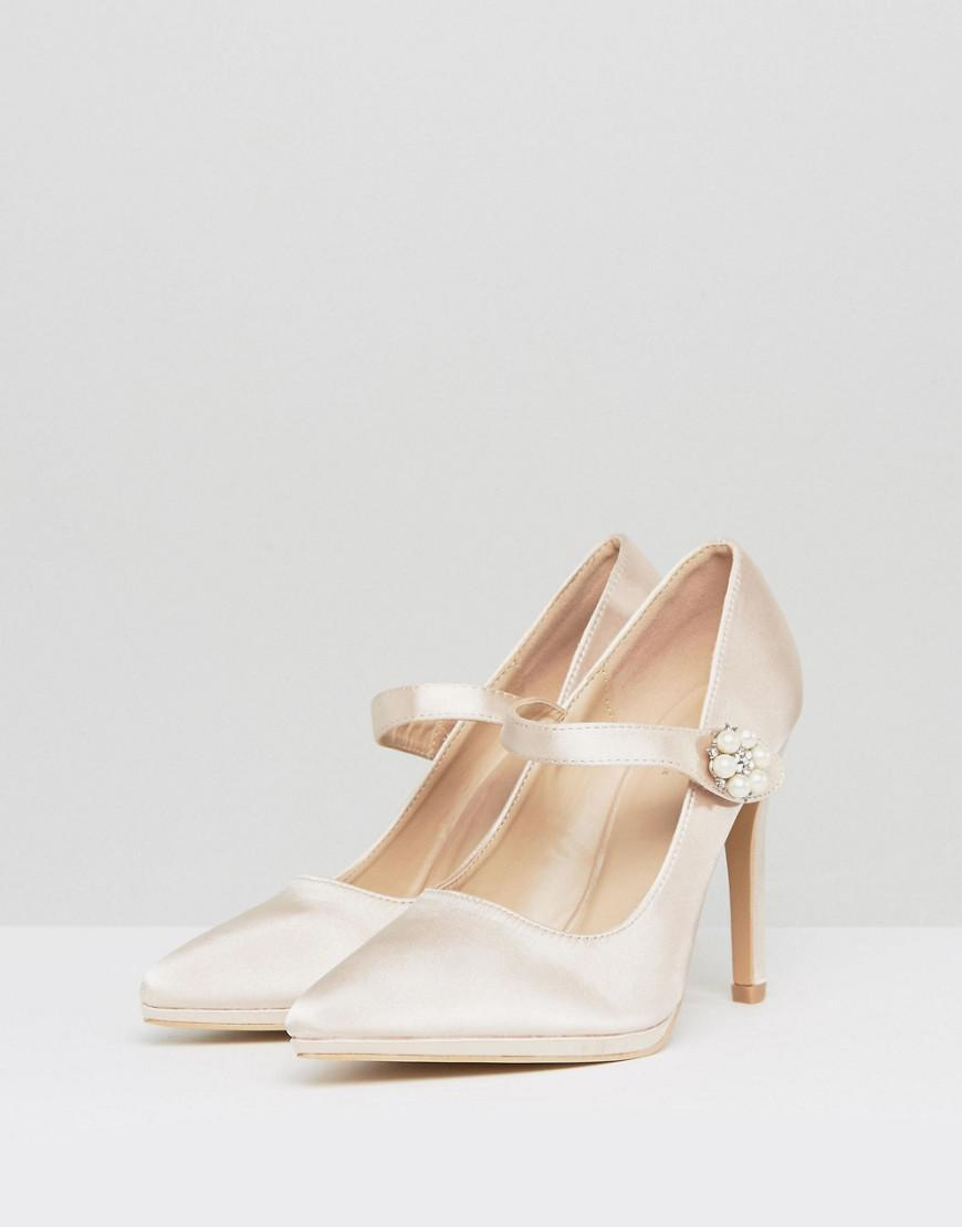 9a435e53dd5 Lyst - True Decadence Nude Satin Pearl Detail May Jane Heeled Shoes in Pink