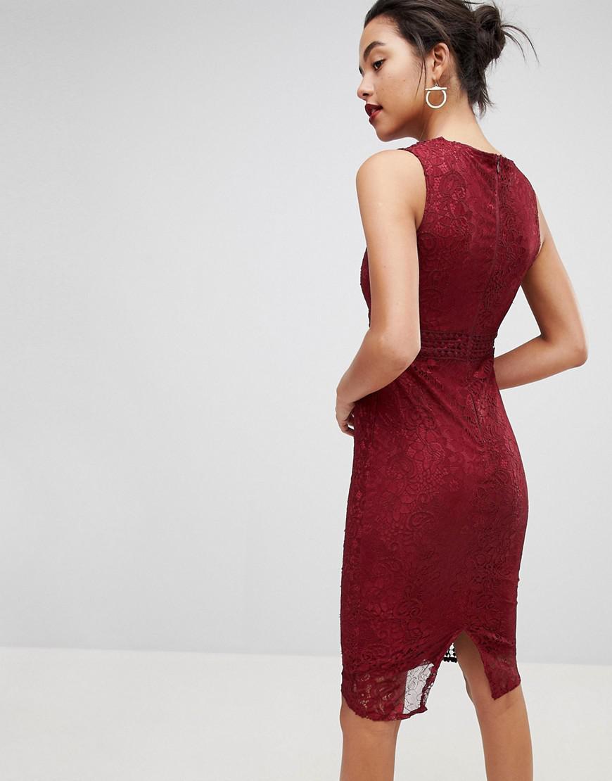 be03030a0a Lyst - AX Paris Premium Lace Midi Dress in Red