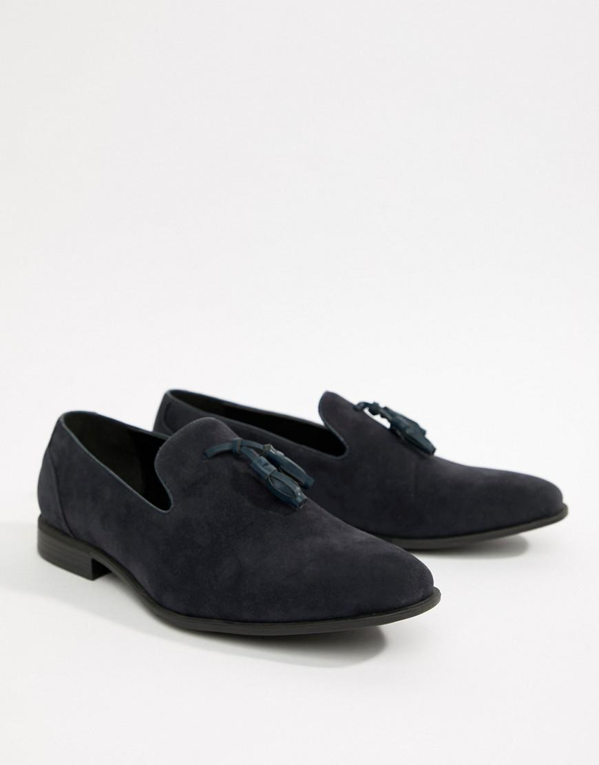 6bc4b2fd348 ASOS Wide Fit Tassel Loafers In Navy Faux Suede in Blue for Men - Lyst