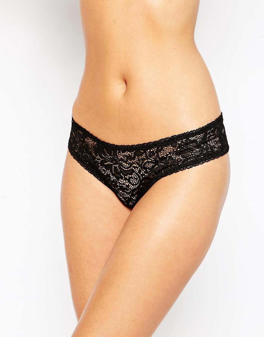 7db65441cfef ASOS 3 Pack Deep Side Lace Thong in Black - Lyst