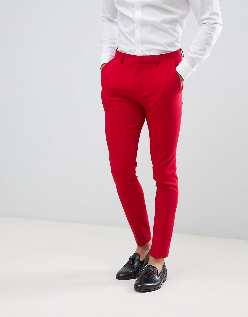 68143cc6c Lyst - Pantalones de traje muy ajustados en rojo de ASOS de hombre ...