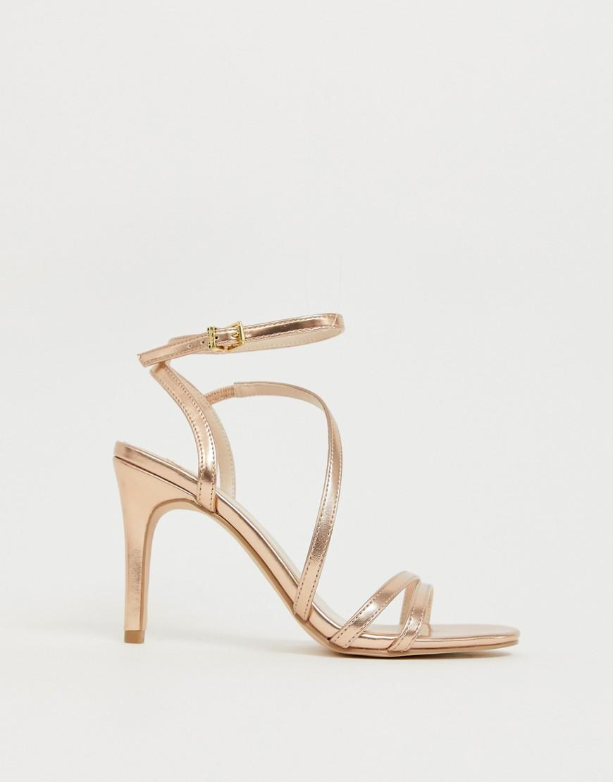 1f5b60fec Faith Delly Rose Gold Strappy Heeled Sandals in Pink - Lyst