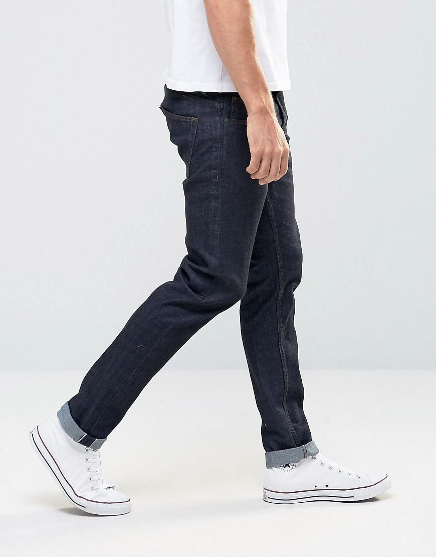 7d6816a000d Lyst - Pull Bear Slim Fit Selvedge Jeans In Dark Wash Blue in Blue ...
