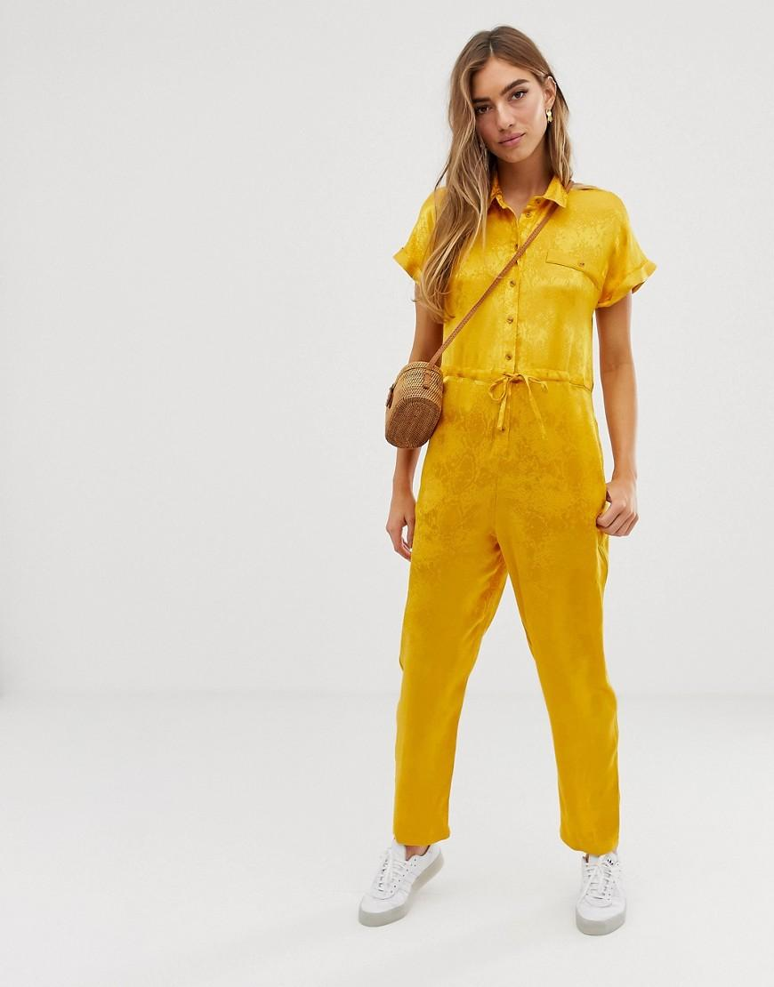 cc5744a2f2d Lyst - ASOS Snake Jacquard Tie Waist Boiler in Yellow