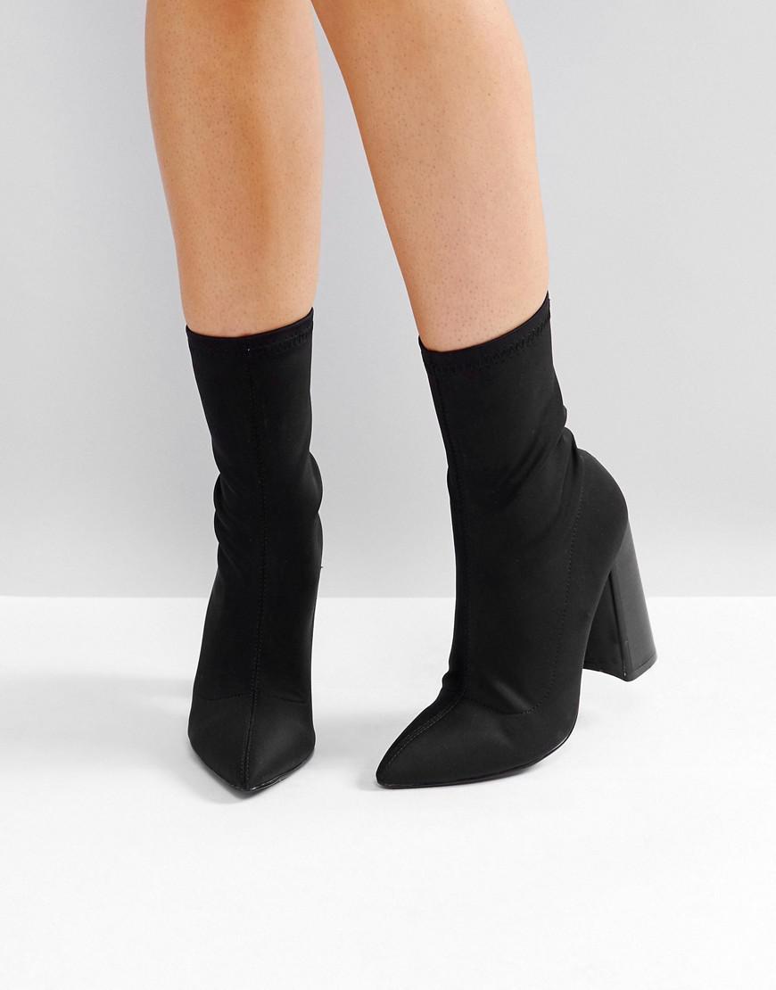 Public Desire. Women's Libby Black High Heeled Sock Boots