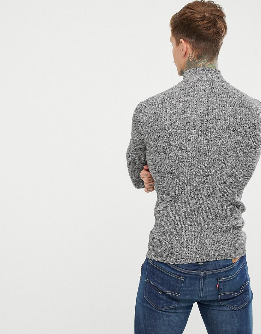490c5646 ASOS Muscle Fit Ribbed Half Zip Sweater In Gray Twist in Gray for Men - Lyst
