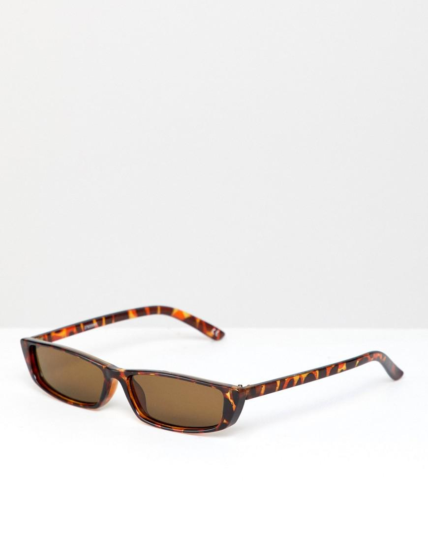 0260569bdf Lyst - ASOS Narrow Frame Square Sunglasses In Tort in Brown for Men