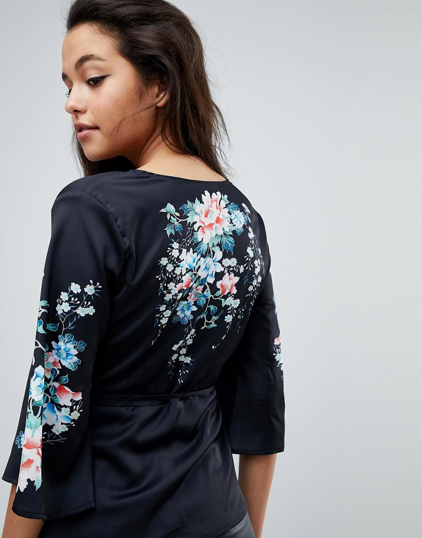 b0746806a2 Lyst - Fashion Union Kimono Blouse With Floral Printed Sleeves in Black