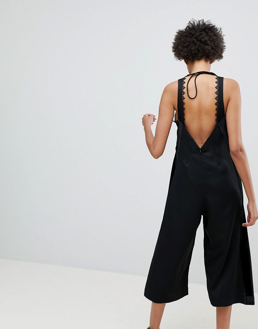 bf4e7d197f0 Lyst - N12H Room Service Cropped Wide Leg Jumpsuit in Black