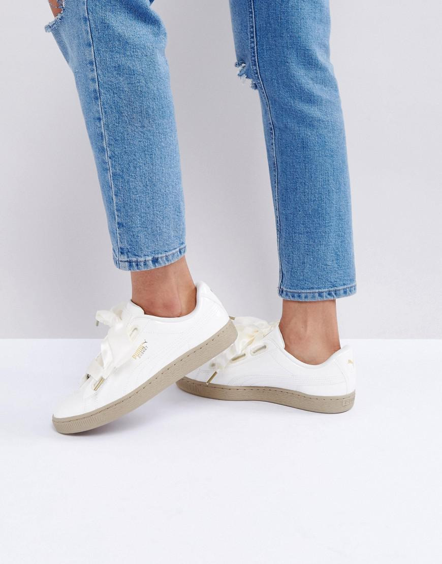 933d80ad78c7 PUMA Basket Heart Trainers In Patent Marshmallow - Lyst