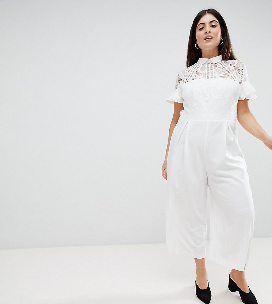 d965a46fd740 ASOS Asos Design Curve Lace Top Jumpsuit With Culotte Leg in White ...