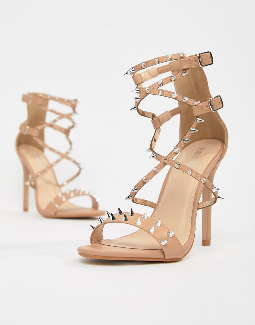 9b91458e6df Lyst - Public Desire Amore Blush Studded Heeled Sandal in Natural