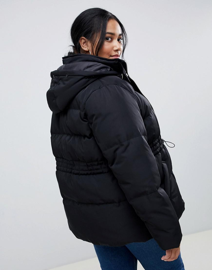 948e769759a Lyst - ASOS Asos Design Curve Puffer Jacket With Waist Detail And Faux Fur  Hood in Black