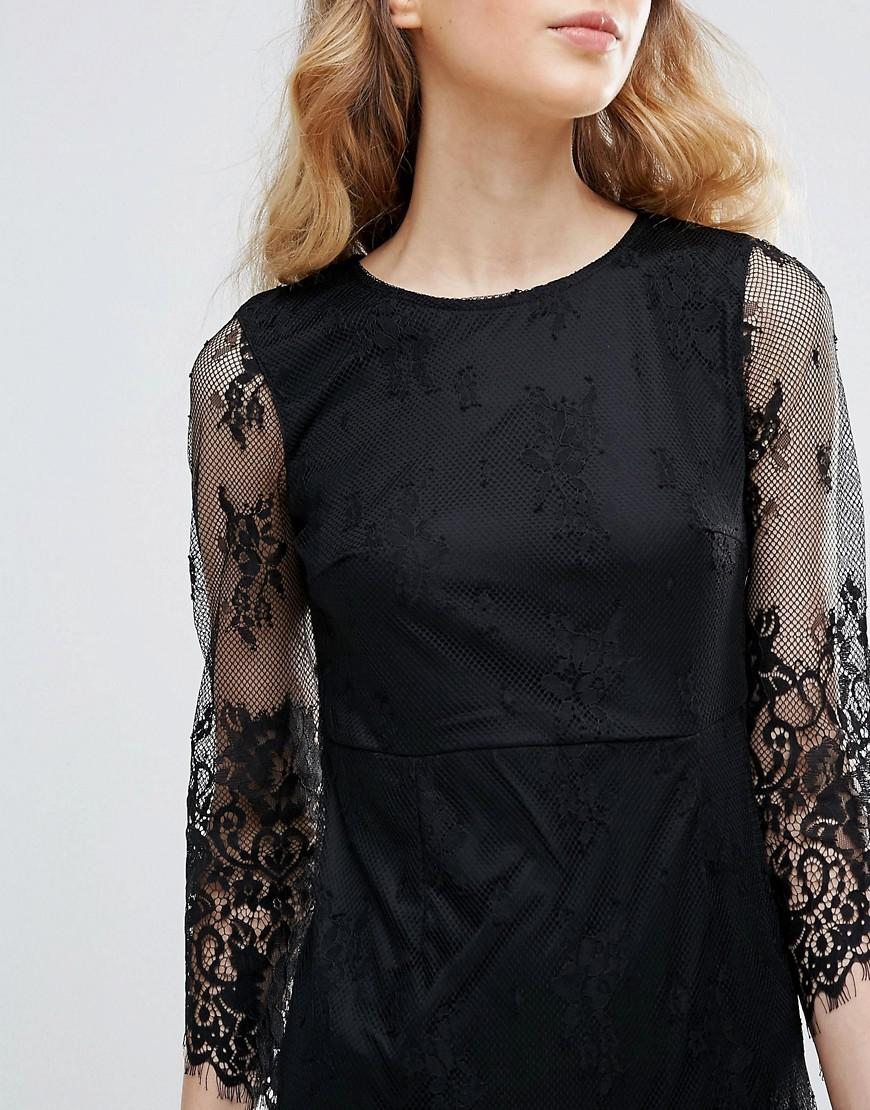 Lace Dress With Scalloped Hem - Black Ichi Cheap Sale For Nice fmHV1