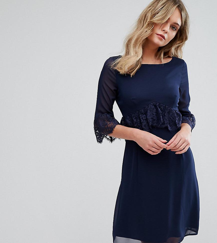 Swing Dress With Eyelash Trim - Navy Elise Ryan O26bLRb
