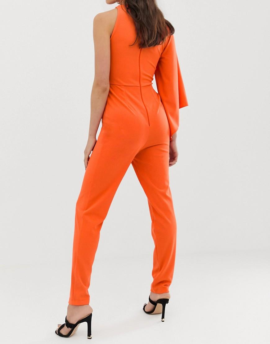 e74cdd944ae5 Lyst - ASOS Asos Design Tall One Shoulder Fluted Sleeve Jumpsuit in Orange