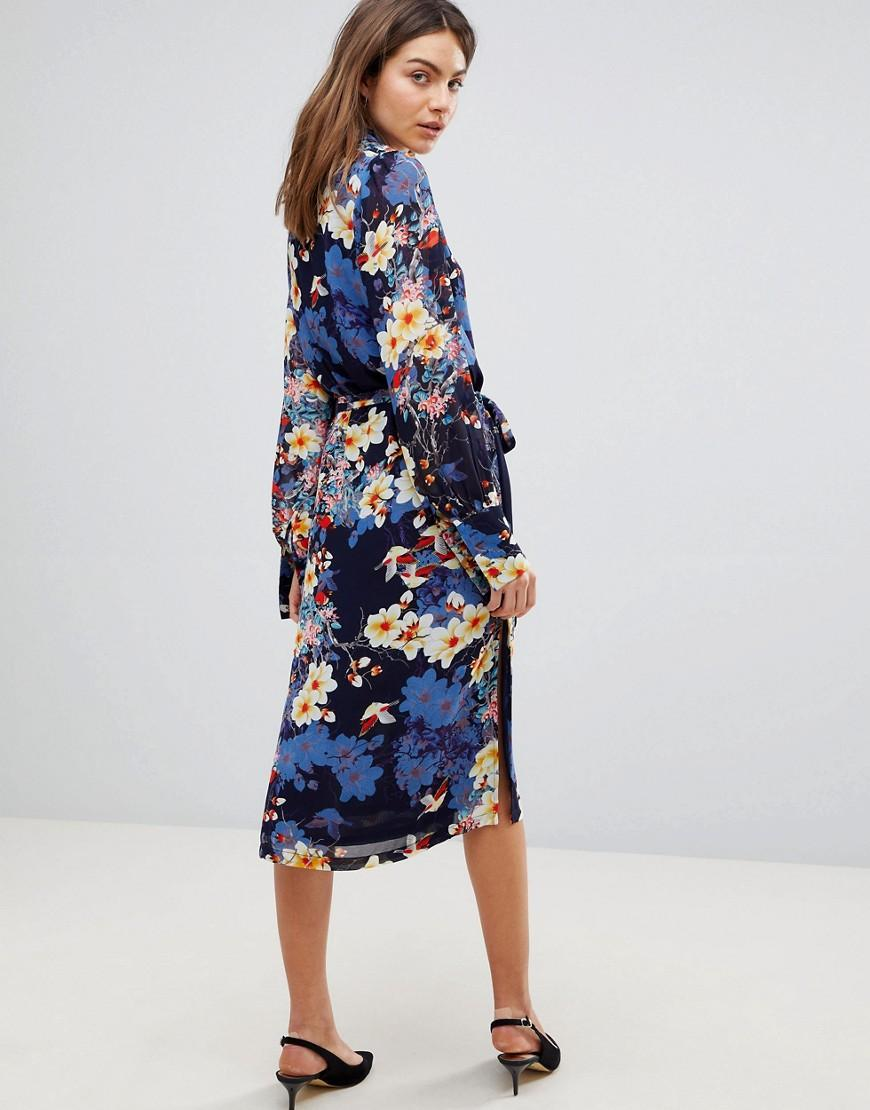 79bf1b05a07c Y.A.S Bloom Printed Midi Dress in Blue - Lyst