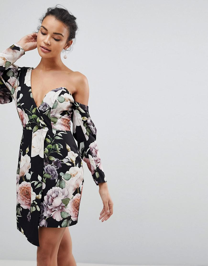49d484783349 ASOS Asos Cocktail Mini Dress In Dark Floral Print - Lyst